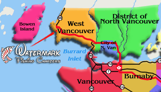 Watermark Salmon Fishing Charters vancouver map